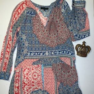 ANTHROPOLOGIE Clothing Blue/Red/White Tunic Dress